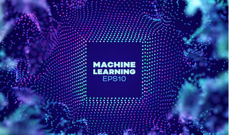 Machine learning abstract vector background. Particles blast grid. Ai technology. Machine learning process
