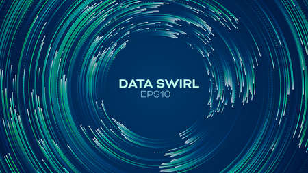 Data concentric flow. Load data vector background. Radial vortex circular trail
