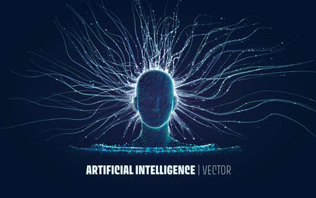 Abstract vector Artificial Intelligence illustration. Data collection and analysis process