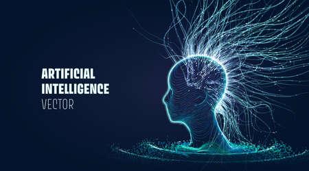 Vector futuristic technology Artificial Intelligence. Meditation process. Futuristic mind
