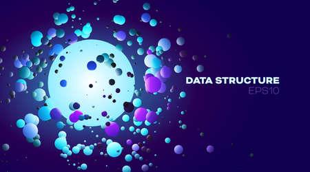 Spheres data structure. Design element. Future concept. Circle shape.