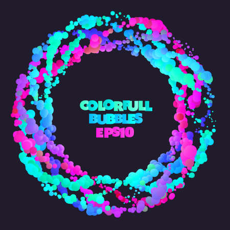 Liquid color bubbles sphere frame design. Dark abstract background. Ilustração