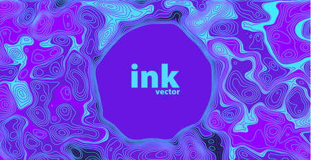 Vector ink mix in line art style on blue background. Trendy fluid cover design.