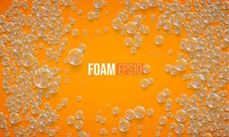 Vector foam bubbles background. Bath soap wash vector texture