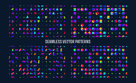 Seamless geometric 3d simple primitives vector background. 3d boxes, tubes, spheres and trianglex spin grid. Minimal background Illustration