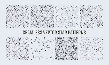 Trendy seamless vector star patterns set, great design for any purposes. Graphic modern pattern. Geometric art. Illustration