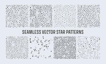 Trendy seamless vector star patterns set, great design for any purposes. Graphic modern pattern. Geometric art. Illusztráció