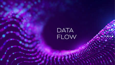 Data flow wave in abstract style on purple background. Multithreading technology vector. Bigdata twisting innovation background Illustration