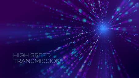 High speed transmission in abstract style. High speed motion blur. Cyber binary. Data stream. Illusztráció