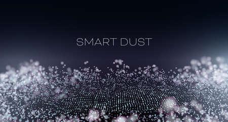 Smart dust abstract vector background. Particles with aberration and bokeh. Hitech technology wallpaper Illusztráció
