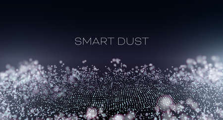 Smart dust abstract vector background. Particles with aberration and bokeh. Hitech technology wallpaper Illustration