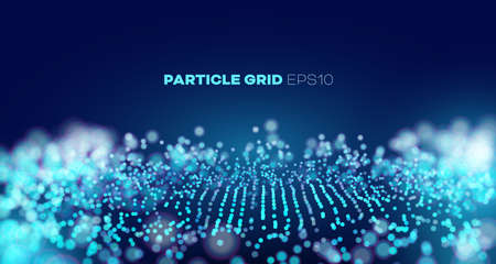 Vector sound wave. Abstract music pulse background. Particle grid. data splash. Futuristic point wave.