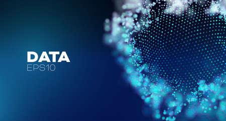 3D data sphere .Artificial intelligence abstract vector background. Global network Ilustração
