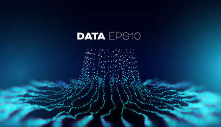 Data tree vector background. Big data technology. Database branch information. Futuristic code flow Ilustração
