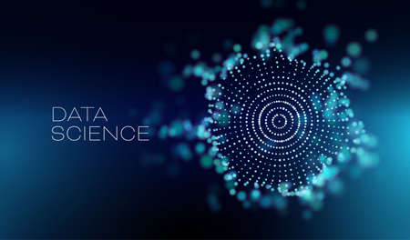 Data science abstract vector background. 3D sphere cloud server. Machine learning technology. Ilustração