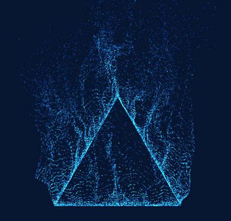 Dissolved pyramid vector. Smoke particles flow up. Technology triangle shape Ilustração