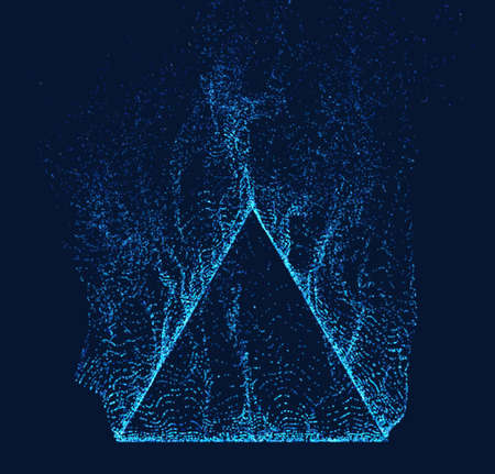 Dissolved pyramid vector. Smoke particles flow up. Technology triangle shape Illustration