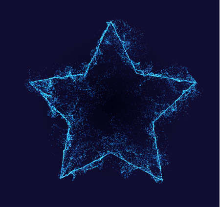 Star vector border. Neon particle flow. Smoked shape. Technology background concept.
