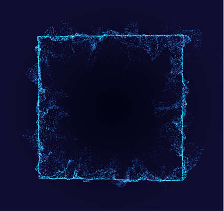 Square vector border. Neon particle flow. Smoked shape. Technology background concept.