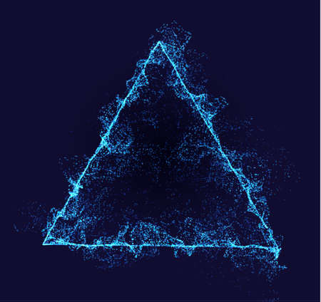 Triangle vector border. Neon particle flow. Smoked Pyramid shape. Technology background concept. Illustration