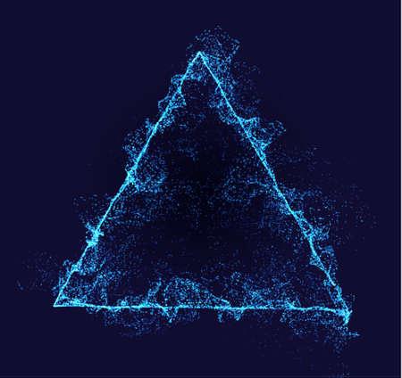 Triangle vector border. Neon particle flow. Smoked Pyramid shape. Technology background concept. Illusztráció
