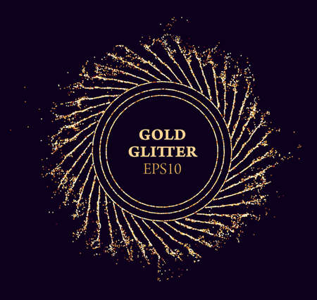 Gold glitter round vector frame. Sun beams glossy dust. Luxury background. Illusztráció