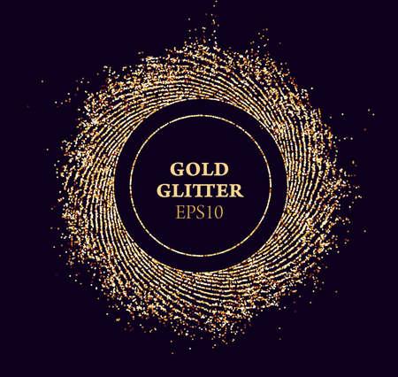 Gold glitter round vector frame. Sun beams glossy dust. Luxury background. Ilustração