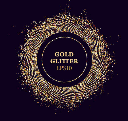 Gold glitter round vector frame. Sun beams glossy dust. Luxury background. Illustration