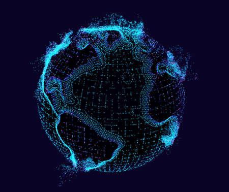 Globe hologram technology vector background. Earth tech hud. Futuristic particle data mesh. Illustration