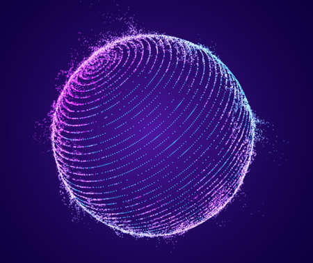 Technology particle sphere hologram vector.