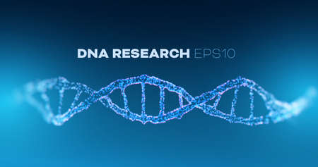 DNA research vector horizontal background. Futuristic medicine genome helix