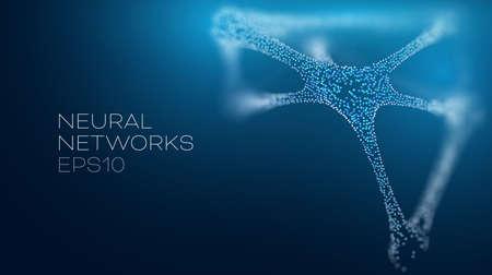 Neural network vector illustration. Futuristic artificial intelligence background Ilustração