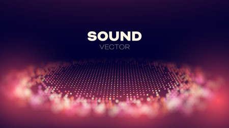Sound wave vector. Audio data background. Techno glitch art Illustration