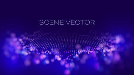 Abstract technology vector background. Data wave scene. Network cyber technology. Wave flow.