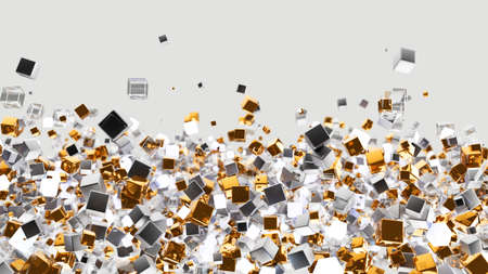 Cubes 3d background. Luxury abstract boxes. Gold and glass flow