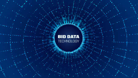 Bigdata circle network. Bigdata stream. Big data flow to hole Illustration