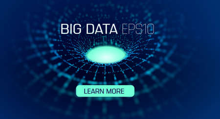 Big data circular tunnel. Bigdata abstract vector design. Big data analytics