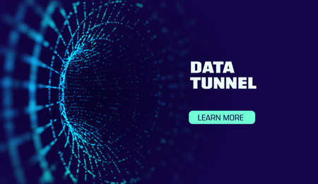 Data tunnel abstract vector background. Security tunnel protected data flow. Network security Illustration