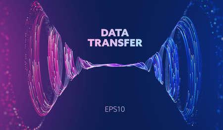 Abstract data transfer vortex. Futuristic digital technology. Vortex data concept. Spiral motion