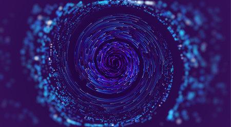 Data swirl abstract vector background. Ai spin vortex flow. Orbit warp speed.