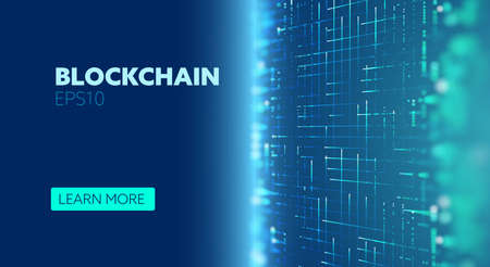 Blockchain vector abstract background. Virtual cryptocurrency bitcoin concept. IOT data network