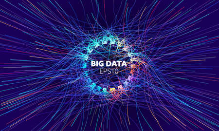 Big data vector circle background. Visual sort analysis. Wave flow data. Bigdata stream design.
