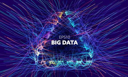 Big data triangle vector background. Visual sort analysis. Wave flow data. Bigdata design. Illusztráció