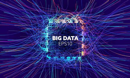 Big data vector background. Visual sort analysis. Wave flow data. Bigdata quad design. Иллюстрация
