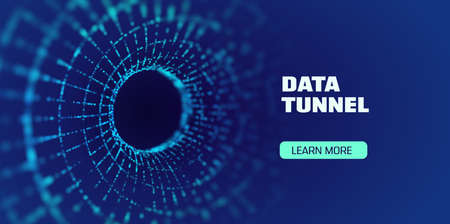 Data tunnel abstract vector background. Security tunnel protected data flow. Network security 矢量图像