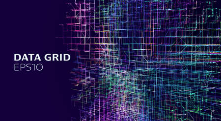 Abstract data grid background. Hitech ai technology