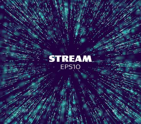 Data stream tunnel. Binary data matrix stream. Digital fast motion. Tranfer tech Stock Illustratie