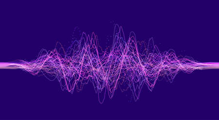 Vector sound wave. Abstract music pulse background. Vector illustration. Sound wave voice ai