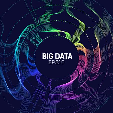 Big data analytics background. Bigdata circle sorting. Big data flow lines abstract vector backgoround. Stream analytics