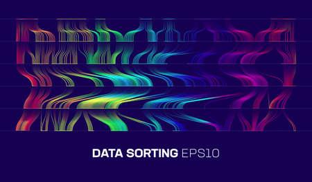 Data sorting cascade background. Blockchain stream. Big data analysis vector background. Geometric vector bigdata analytics technology.